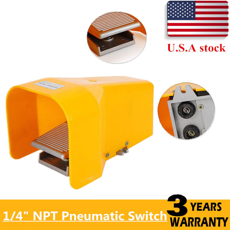 """Pneumatic Foot Pedal Valve 1/4"""" Ports 5 Way 2 Position Manual Acting 4F210-08G"""