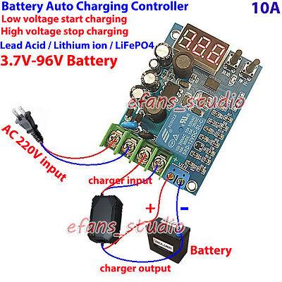 Digital Led12v 24v 36v 48v 60v 10a Battery Charger Automatic Charging Controller