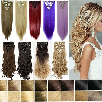 100% Real Natural Full Head Clip in Hair Extensions 8Pcs Straight Wavy Synthetic ()
