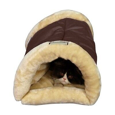 Cat Cave Bed Soft Tunnel Plush Warm Nap Machine Washable Snooze Comfort Pet Dog