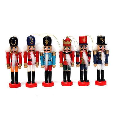 6 x Weihnachtsanhänger Holz Nussknacker Soldat Baumschmuck Anhänger Dekoration ()