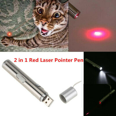 2 In 1 Usb Rechargeable Red Laser Pointer Pen White Led Light Kids Cat Toy