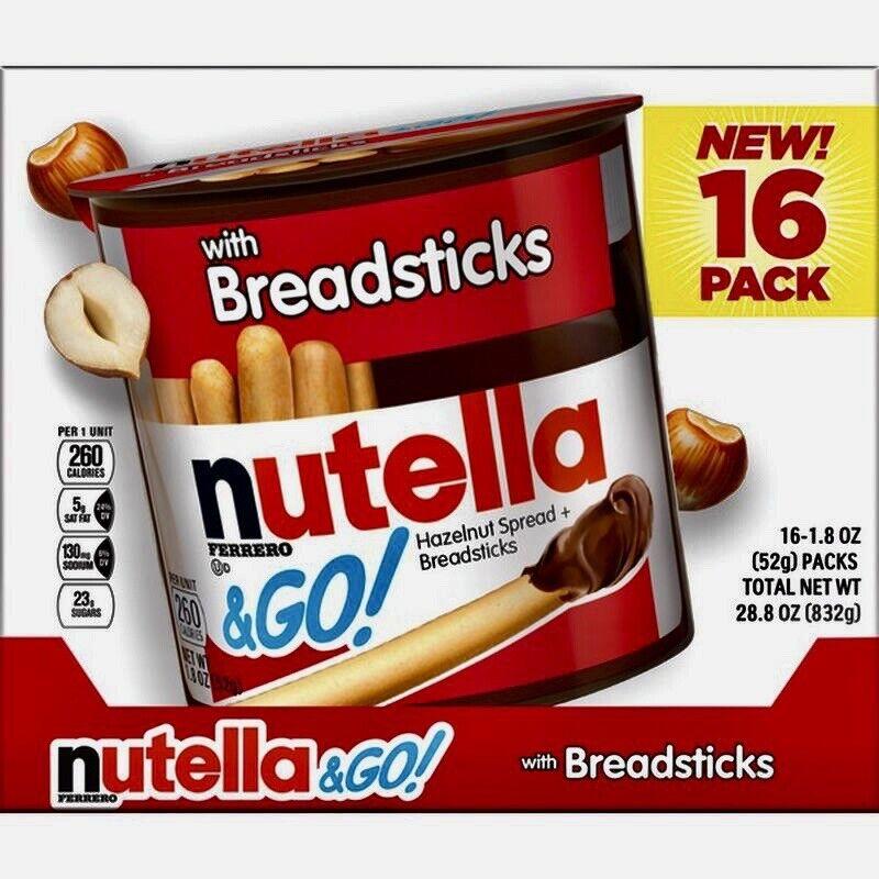 NUTELLA & GO 16 INDIVIDUAL PACKS HAZELNUT SPREADS WITH BREADSTICKS 28.8 OZ