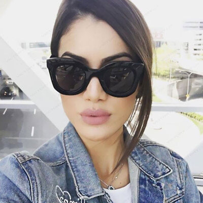 Kim Kardashian Sunglasses Oversized Top Flat Black Women Celine Fashion Cat (Kim Kardashian New Sunglasses)