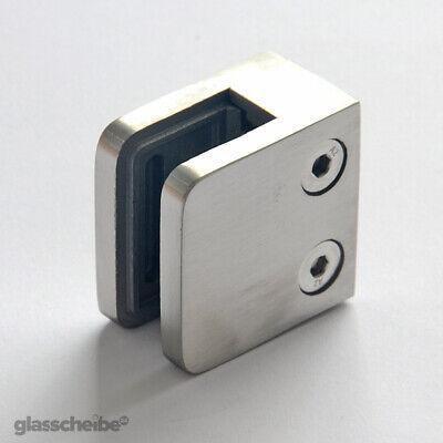 Edelstahl-Halterung m.Gummi für Glas 10mm Klemmhalter für Duschwand Spuckschutz