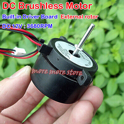 External Rotor DC Brushless Motor DC 12V 3680RPM Built-in Driver Board DIY Fan