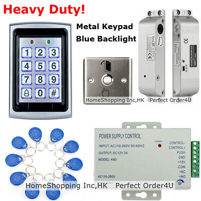 125KHz RFID Card + Password Metal Door Access Control System + Drop Bolt Lock