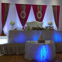 Wedding decor, BACKDROP $400,table cloth, chair cover,Rent,