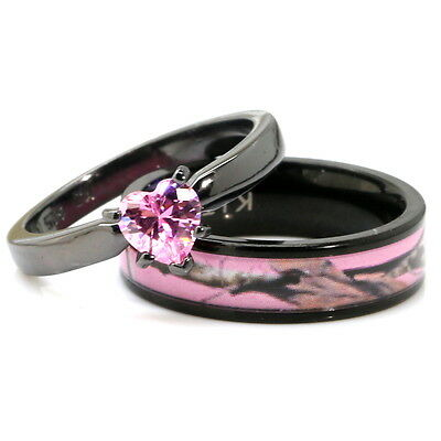his her black pink titanium camo heart stainless steel engagement wedding rings - Black And Pink Wedding Rings