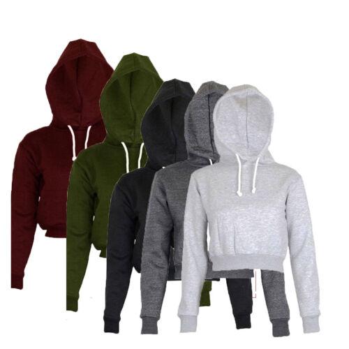 Women Plain Hangover Crop Top Hooded Full Hoodie Sweatshirt