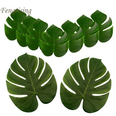12Pcs Artificial Silk Palm Leaves Tropical  Green Turtle Luau party  Home - Luau Party Supplies
