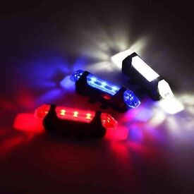 (1812) NEW, USB Rechargeable FRONT REAR LED BIKE BICYCLE FLASHLIGHT LIGHT LAMP+MOUNT WATER RESISTANT