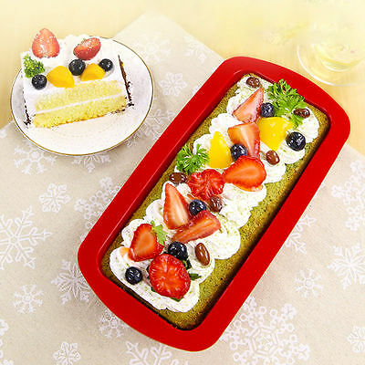 Silicone Rectangle Non Stick Bread Loaf Cake Mold Bakeware Baking Pan Mould JL