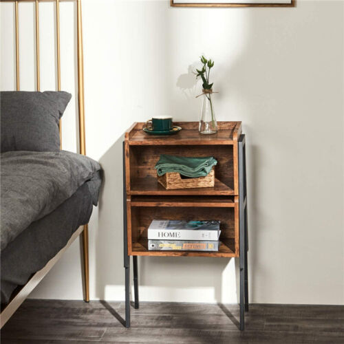 Set of 2 Stackable Nightstand End Table Storage Cabinet Furniture W/ Metal Frame