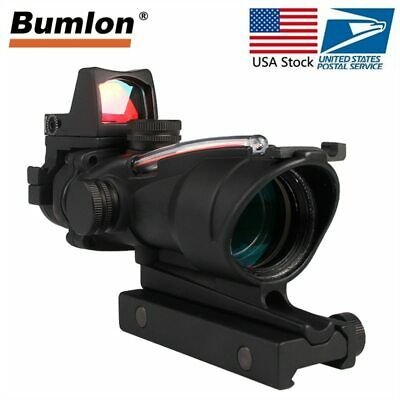 Tactical Hunting Rifle Scope Optic Sight Airsoft Green Red Fiber ACOG 4X32 with