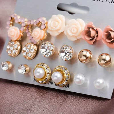 9 Pairs/Set Women's Crystal Pearl Flower Ear Studs Earrings Elegant Jewelry Gift