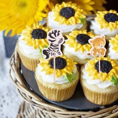 Zoo Animals Safari African Kids Cake Cupcake Toppers Party Supply T (Safari Cupcake Toppers)