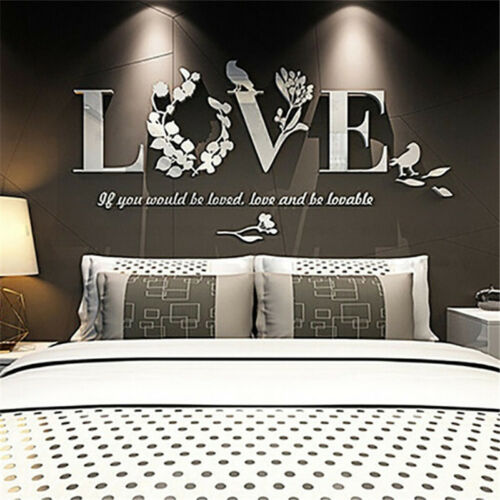 Home Decoration - DIY 3D Mirror Love Flower Wall Sticker Quote Flower Acrylic Decal Home Decor