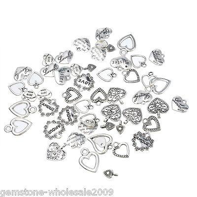 30PCS Wholesale W09  Mixed Heart Pendants  Charm - Heart Charms