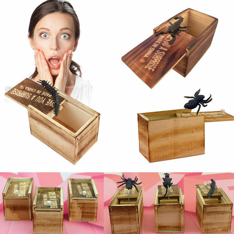 1PC Wooden Prank Spider Horror Scare Box Hidden in Case Trick Play Joke Gag Toys