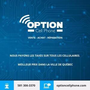 Option Cell Phone vous offre les meilleurs prix au Québec dans la vente, réparation et achat!