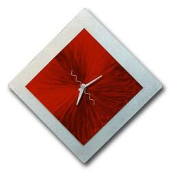 Red & Silver Modern Abstract Metal Wall Clock- Vortex of Red 12 by Jon Allen