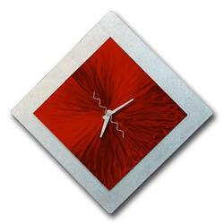 Statements2000 Modern Metal Wall Clock Art Red Silver Abstract Decor Jon Allen