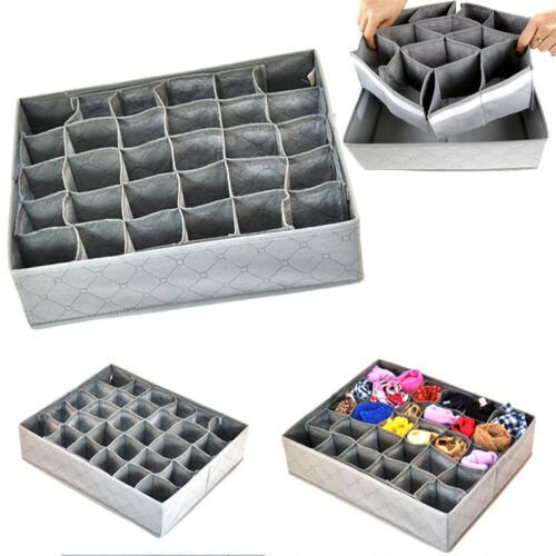 30 Cell Ties Socks Shorts Drawer Closet Divider Organizer Storage Box Container