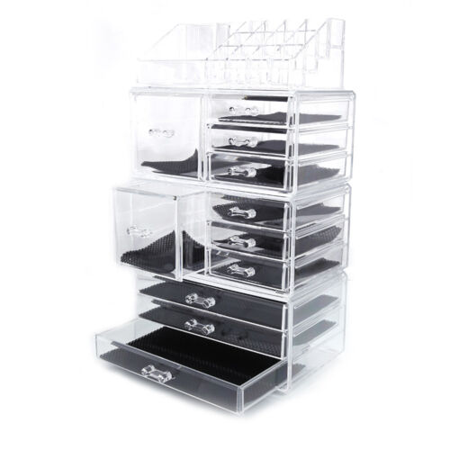 acrylic cosmetic tower organizer makeup holder case