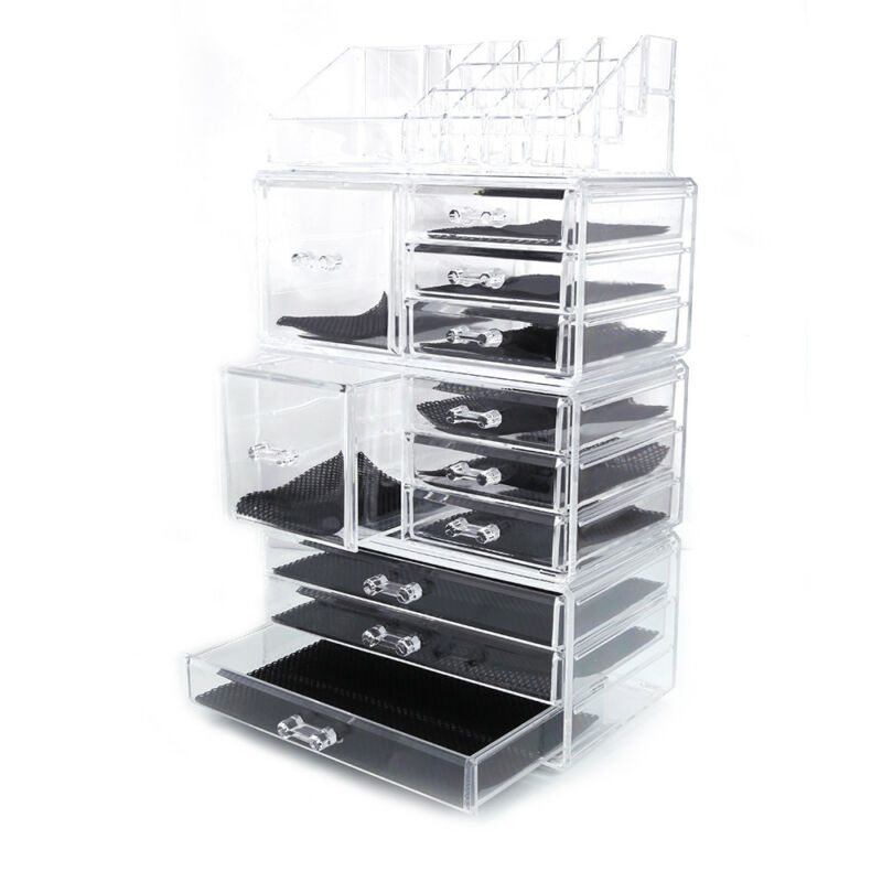 Acrylic Cosmetic Tower Organizer Makeup Holder Case Box Jewelry Storage Drawer