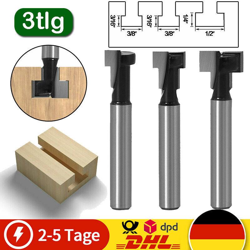 3tlg T-Nutfräser Set T-Nut 1/4'' 【Schaft 8 mm】 Für M5 M6 M8 Sechskantschrauben