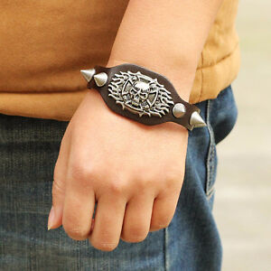 SKULL WITH SPIKES GENUINE LEATHER BRACELET SALE NEW 50% OFF