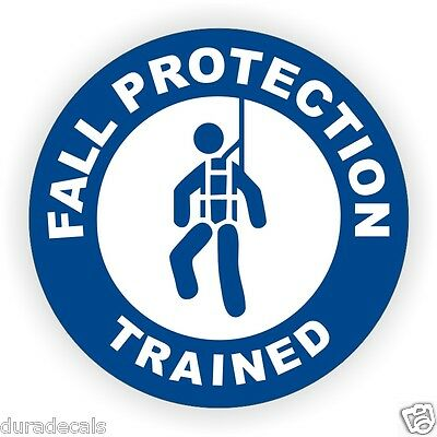 Fall Protection Trained Hard Hat Decal Helmet Sticker Safety Harness Scaffold