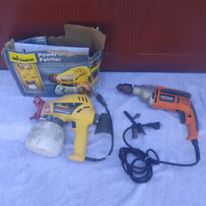 RIDGID DRILL & WAGNER PAINT SPRAYER