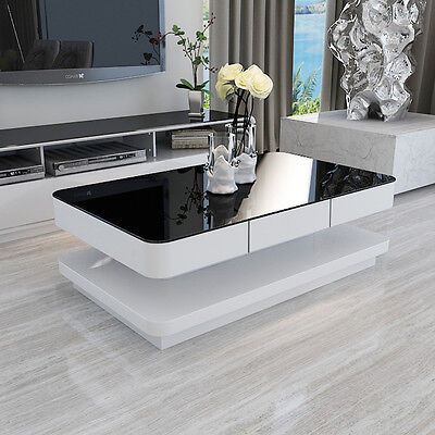 High Gloss White Coffee Table Round Angle Black Glass Top Living Room Furniture