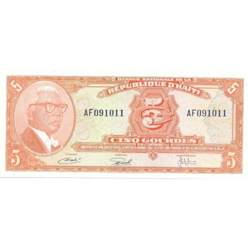 1973 Haiti 5 Gourdes Pick # 212 - Very Nice Choice UNC Banknote! - d1946thx
