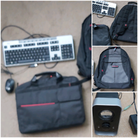 Computer bundle speakers, hp keyboard, laptop rucksack, bag, mouse