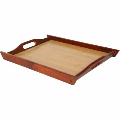 wood food serving tray with handles