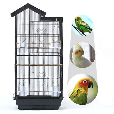 Steel Bird Parrot Cage Canary Parakeet Cockatiel W Wood Perches Food Cups - Cheap Bird Cages