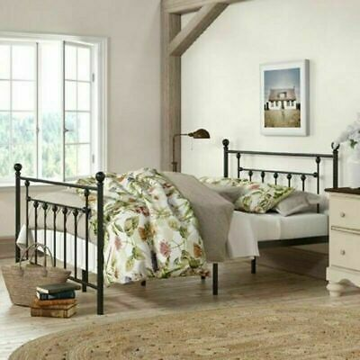 Queen Size Bed Frame Country Cottage Farmhouse Platform Modern Victorian Style Cottage Style Bed