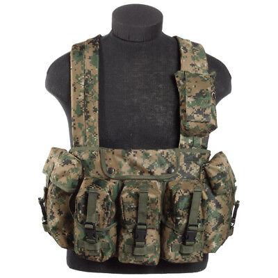 Military Magazine Chest Rig Carry Combat Tactical Range Vest Digital Woodland