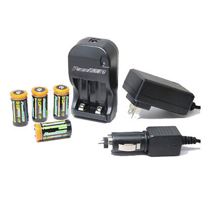 NEW Power2000 4 CR123A Lithium Rechargeable Batteries110/220V With Rapid Charger