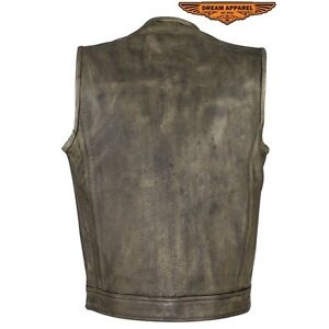 Men's Distressed Brown Leather Motorcycle Club Vest Edmonton Edmonton Area image 4