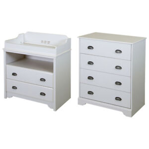 South Shore Fundy Changing Table & 4-Drawer Chest Set - White
