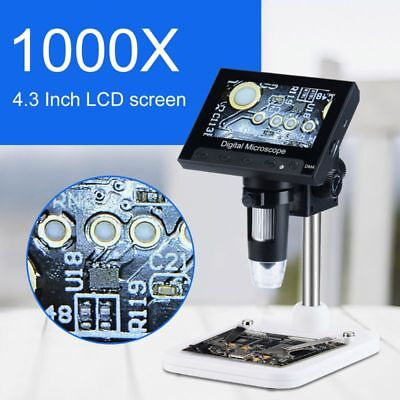 1000x Digital Microscope Camera Video 720p With 4.3 Lcd Screen Holder 8 Led
