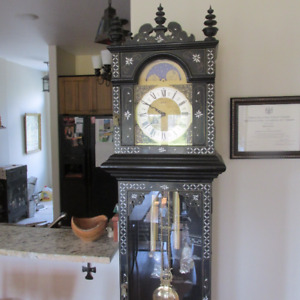 Chinese Grandfather Clock and Matching Cabinet