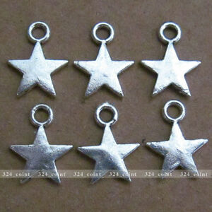 P085-50pcs-Tibetan-Silver-Beads-Charm-Star-Jewelry-retro-Accessories-Wholesale