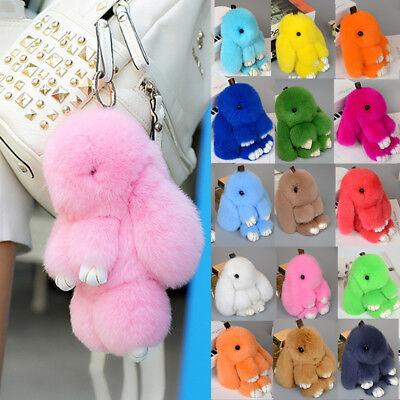 1PC Faux Fur Bunny Key Ring Rex Rabbit Fluffy Bag Pendant Keychain Jewelry