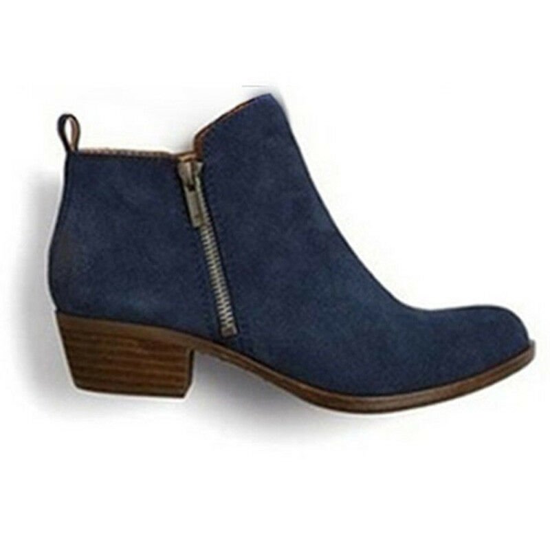 Vintage Women's Low Western Zipper Boots Booties Shoes Size