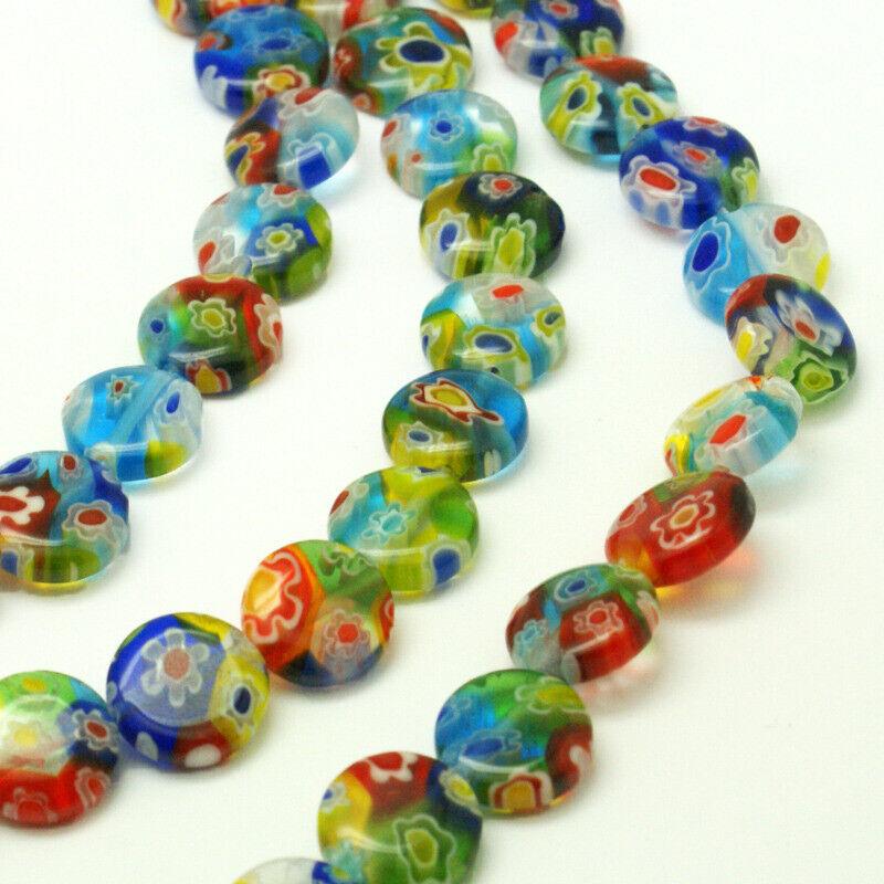 "Millefiori Glass Flat Round Bead Strands, Colorful, 10x4mm 15"""